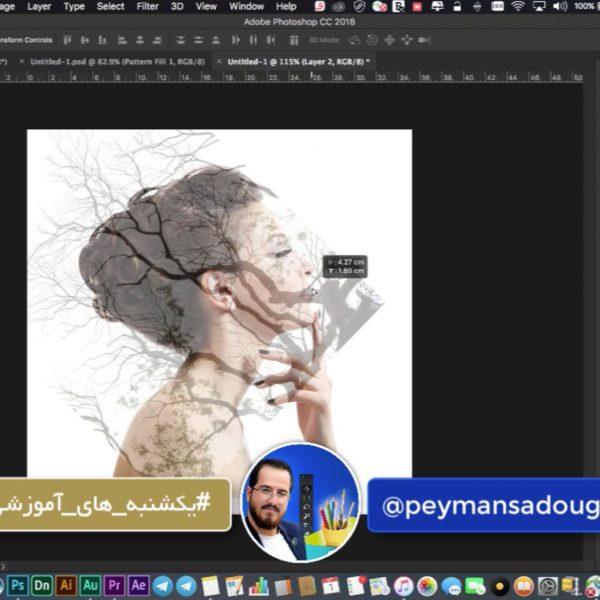 آموزش افکت دابل اکسپوژر و ترکیب تصویر انسان و درخت